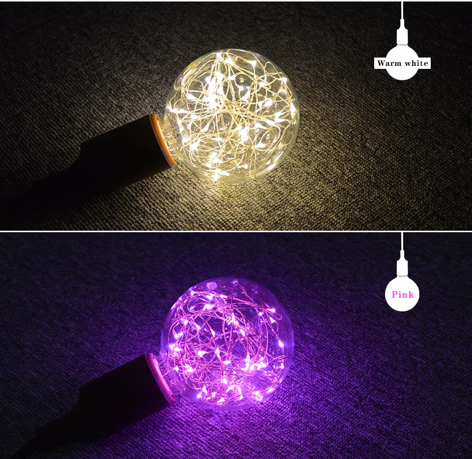 E27 110v 220v Retro Edison Fairy Led String Light Bulb Rgb