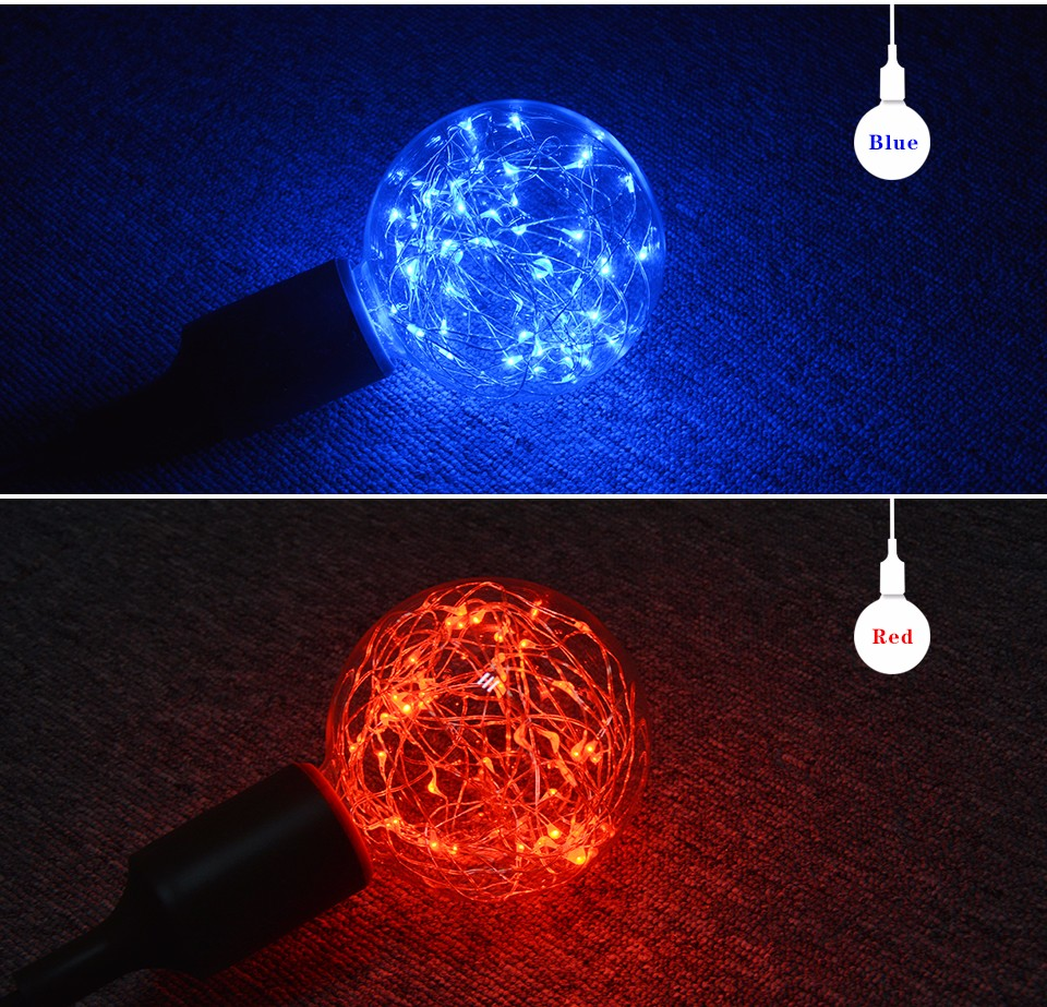 110v 220v Led Lamp E27 Led Night Light String Lights Filament Bulb G95 Holiday Lights Christmas