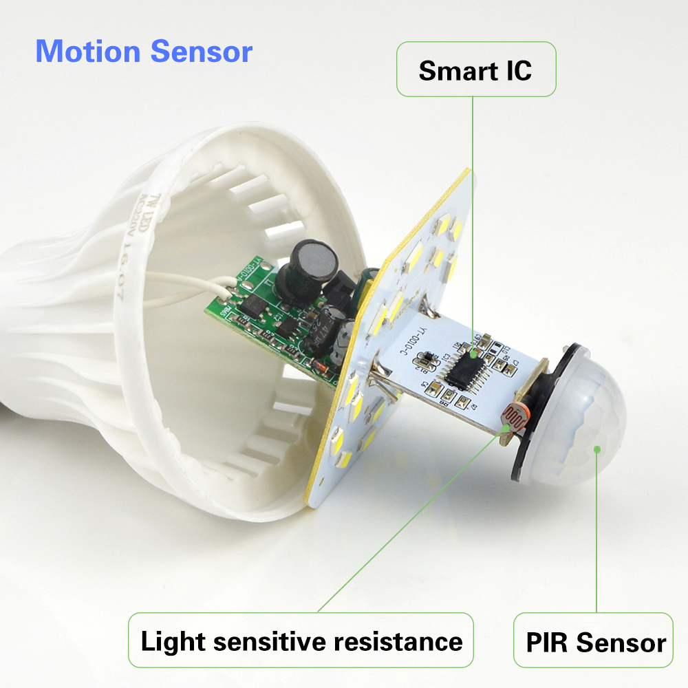 White Night Light E27 220v Sensor Led Lamp Bulb Pir