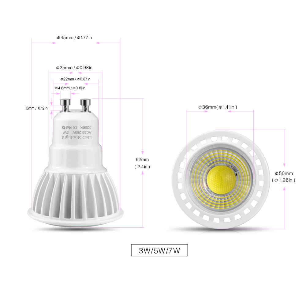 ac 85 265v 220v 110v 3w 5w 7w gu10 cob led bulb light cob. Black Bedroom Furniture Sets. Home Design Ideas