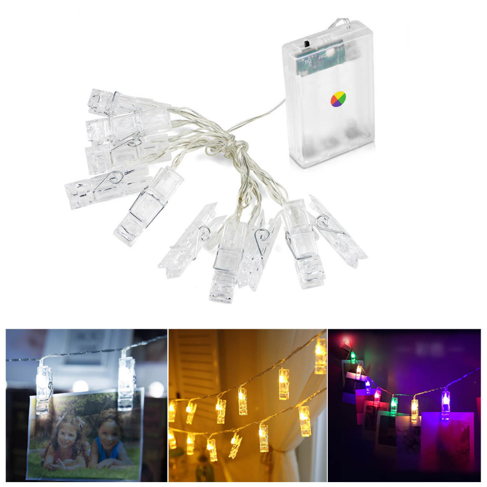 1m 2m Led String Light Photo Clip Holder Bulb Wedding Book Desk Decor Lamp New Year Party Home