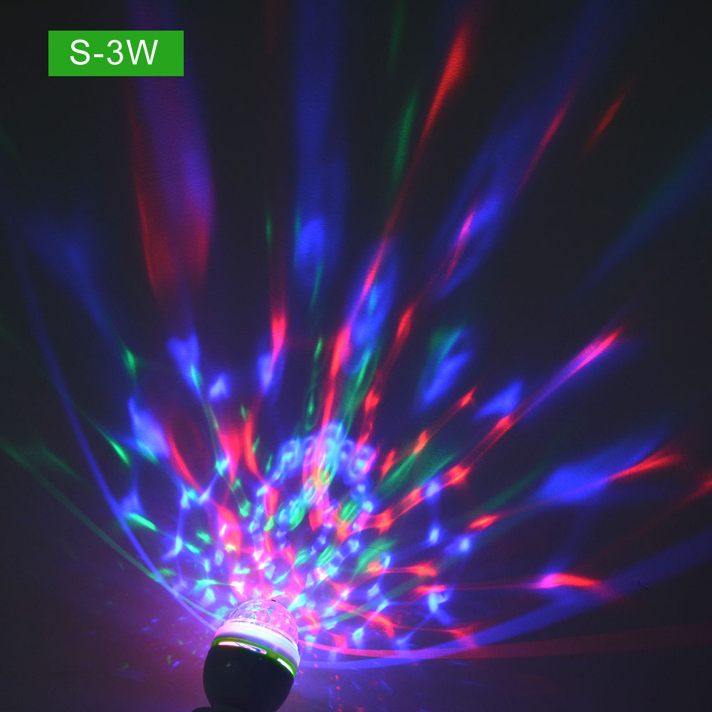 E27 Colorful Led Night Light Rgb Auto Rotating Stage Light